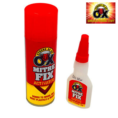 StrongAsAnOX Mitre Fix Kit 10 Second Bond Clear Adhesive + Activator 50g/200ml