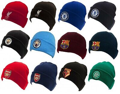 Official Football Club Team Crest Knitted Hat Turn Up Cuff Winter Wooly Beanie