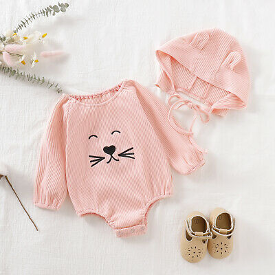 2pcs Newborn Toddler Infant Baby Girl Clothes Romper Jumpsuit Tops+Hat Outfits