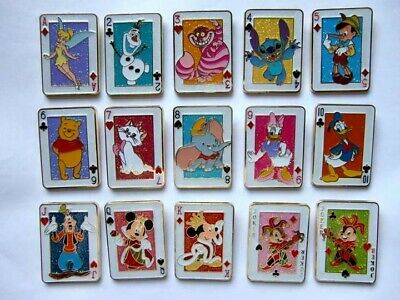 Disney Pin - HKDL - Playing Card Mystery Tin Set (Complete set 15pcs) Rare