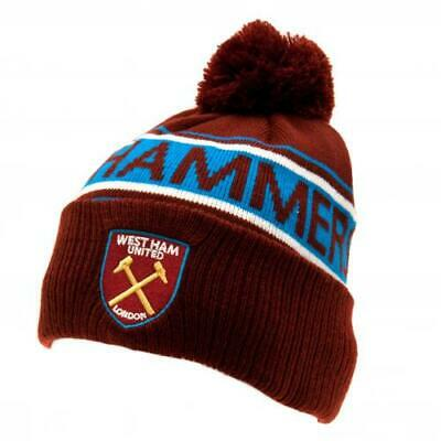 West Ham United FC Knitted Cuff Bobble Hat Up Turn Winter New Official Hammers