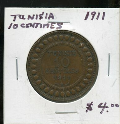 1911 Tunisia 10 Centimes Coin Fh392
