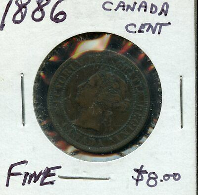 1886 Canada 1 Cent Coin Fb774