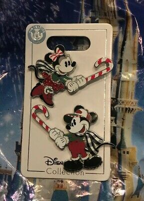 Disney Christmas 2019 Mickey And Minnie Candy Cane Two Pin Set New OE In Hand