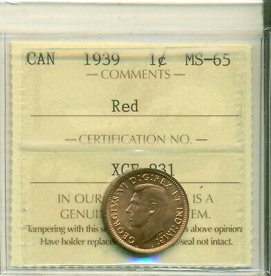 Graded 1937 Canada Penny ICCS MS65 RED KEY DATE