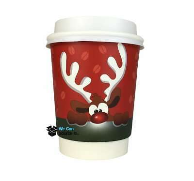 8oz Festive Christmas Reindeer Paper Coffee Takeaway Cup| Recyclable | Insulated