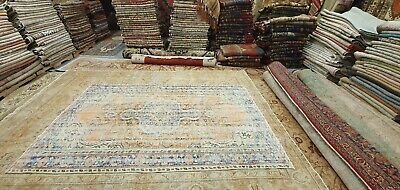 Rare Antique 1940's Distressed Wool Pile Natural Dye Oushak Area Rug 6x9ft