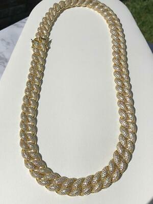 Men's Miami Cuban Link Chain 15mm Ice Out 14k Gold Diamond FILL Real ICY Choker
