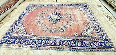 Rare Antique 1930-1940's Wool Pile Natural Dye Distressed Oushak Area Rug 7x10ft