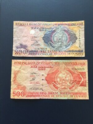 200 & 500 Denomination Vanuatu Bank Notes. Ideal For An Avid Note Collector.