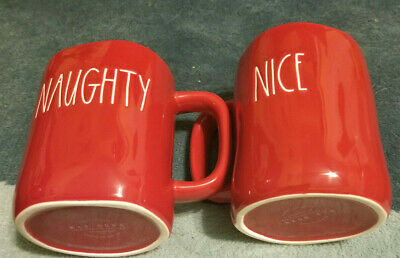 Rae Dunn Christmas Red LL NAUGHTY NICE Farmhouse Double Side Red Mug