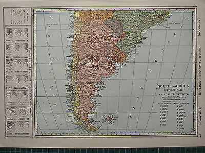 1926 Map ~ South America Southern Part Falkland Chile Uruguay Principal Cities