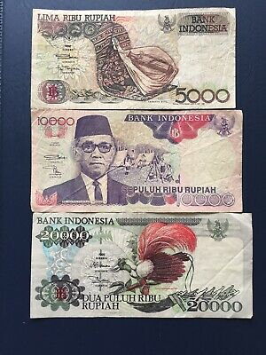 Various Denomination Circulated Indonesian Bank Notes. Ideal For Collection.