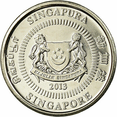 [#707581] Coin, Singapore, 10 Cents, 2013, EF, Copper-nickel