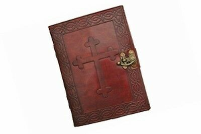 5x7 Embossed Leather Cover Celtic Cross Jouirnal with Metal Close