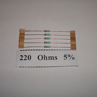 220 Ohms 5/% Tolerance Carbon Composition Resistors NOS