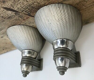 Antique 1920s Art Deco Mercury Glass Sconces Wall Lamp X2 Curtis Lighting X Ray