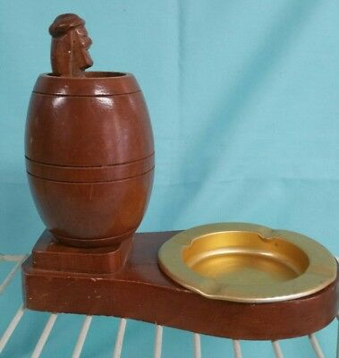 Novelty Wooden ashtray handmade man  potty vintage