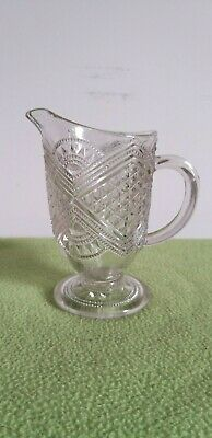 Small cut glass mid century clear glass milk jug/creamer