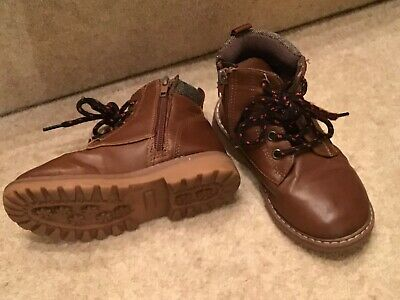 Boys Brown Faux Leather Ankle Boots Kids UK size 9 EU 27