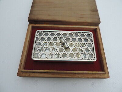 Exquisite Rare Vintage Japanese Sterling Silver & Glass Bonbonniere Vanity Box