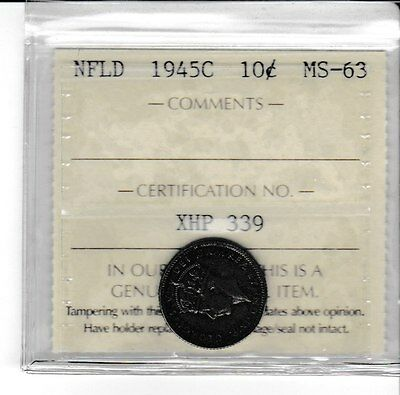Canada 1945c Newfoundland 10 Cents silver dime ICCS MS-63