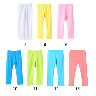 Children Cropped Leggings Comfy Colorful Modal cotton Kids 34 Pants Age 2-13
