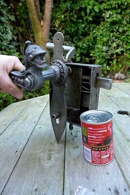 Vintage Antique Large Metal Door Lock With Key Roman Soldier Head Handle