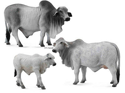 NEW CollectA 88579 88580 88581 Brahman Cattle Bull Cow Calf Set - Group of 3