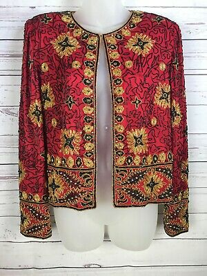 Papell Boutique Evening Sz L Red beaded cardigan top jacket black gold silk