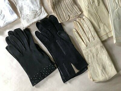 Ladies Vintage Gloves 9 pairs including Kid Leather, Embroidered Beaded Sz 6-7.5