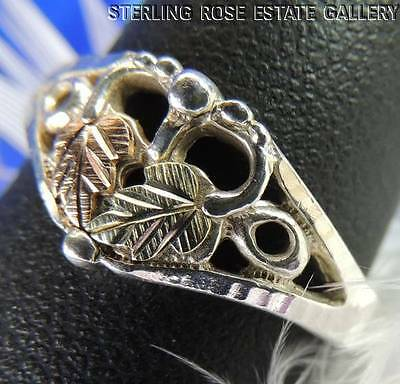 VINTAGE ROSE and YELLOW VERMEIL & STERLING SILVER 925 ESTATE HEART RING sz 8.25