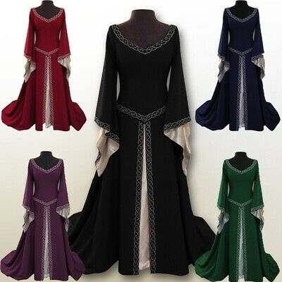 Palace Priests Vintage Ball Gown Womens Medieval Dressl Wizard Cosplay Costumes