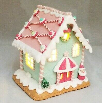 """Gingerbread House Green Pink Candy Santa LED Light Up Clay-dough 6"""" Gerson"""