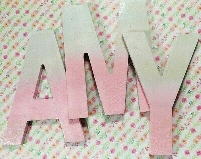Pink & White Glitter ~ Personalized Painted Wooden Wall Letters ~ Unicorn Decor