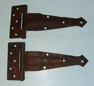 Vintage Pair of Barn Door Strap Hinges Raised Arrow Design
