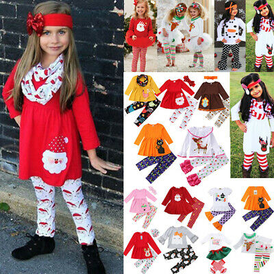 US Newborn Kid Baby Girls Christmas XMAS Tops Dress+ Pants Outfit Clothes Set