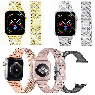 Bling Stainless Steel Watch Band Bracelet Strap For Apple Watch Series 5 4 3 2 1
