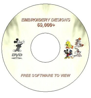 69 000 -70 Embroidery Designs DVD Brothers Machine PES HUS Disney Pooh Cats Dogs