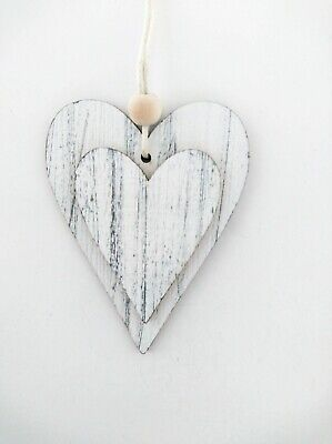 Wooden Hanging Hearts With Bead White And Grey 6.5cm