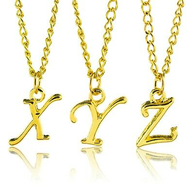 """Personalised Gold Plated Initial Scroll Letter 18""""Necklace Pendant  A to Z"""