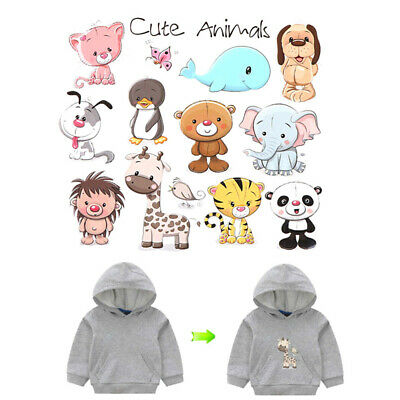 Cute Animals Iron on Patches Washable Heat Transfer Stickers T-shirt Appliques U
