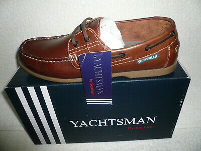 Mens Deck Shoes Sizes 7-12 Uk Brown New Real Leather Yachtsman