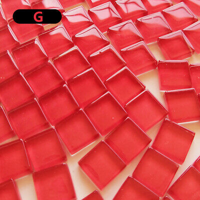 300X Colorful Square Glass Mosaic Tiles Solid Clear DIY Craft Art Home Wall Deco