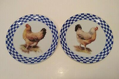 Decorative Rooster Plates Set 2 Wrought Iron Display Kitchen