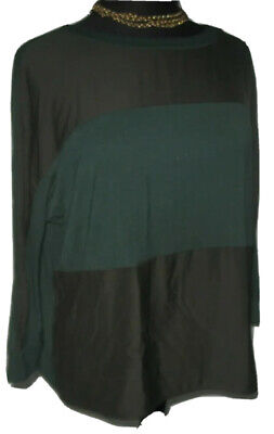 LOFT Women's Blouse Top Pullover Wide Color Block Green size Small