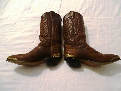 Vintage Brown Leather Cowboy Western Boots Women's 6.5 M Pointed Toe Pull On
