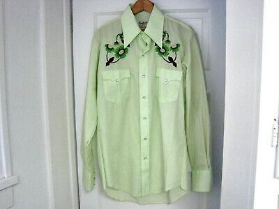 Men's Vintage Rawhide Mint Green Embroidered Pearl Snap Shirt Size