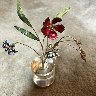 Vintage Metal Enamel Flowers & Grass In Lucite Base