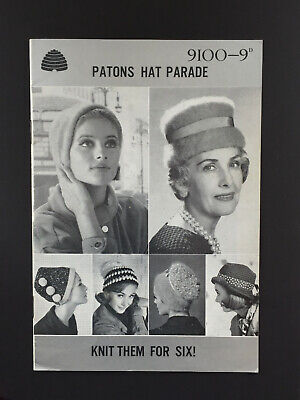 Original 1960's Vintage Knitting Pattern Booklet: Patons Hat Parade - 6 designs.